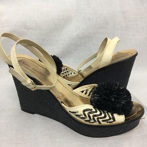 KATE SPADE Sandals Heels Black Pom Pom Wedges